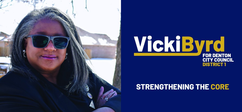Image divided between a photo of Vicki Byrd on the left and the campaign logo and slogan on the right